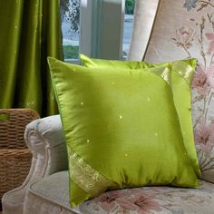 Indian Selections Olive Green- handcrafted Cushion Cover, Throw Pillow case Euro Sham-6 Sizes, Green, Size 26 x 26