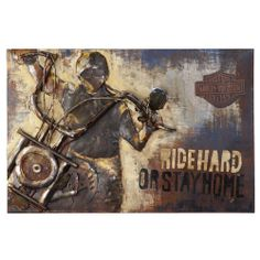 Harley Davidson Ride Hard Or Stay Home Metal Wall Art   Brand New   HDL