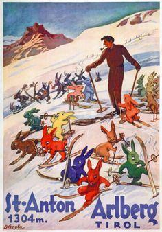 St Anton am Arlberg - Tyrol Austria - Skiing - Travel Advertising Poster Ski Europe, St Anton, Tyrol Austria, Ski Austria, Vintage Ski Posters, Ski Bunnies, Advertising Poster, Vintage Advertisements, Retro