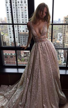 Shiny Prom Dresses Deep-V-Neck Long Silver Backless A-line Evening Dresses