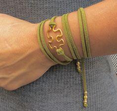 Suede wraparound puzzle piece bracelet- Green by AdornedBySuzie on Etsy https://www.etsy.com/listing/475068876/suede-wraparound-puzzle-piece-bracelet