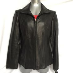 "Jones New York Leather Jacket Black zip front leather jacket. Never worn - in excellent condition. Non-smoking, pet-free home. Bust = 21"", arm = 25 1/4"", length = 25 1/2"" Jones New York Jackets & Coats"