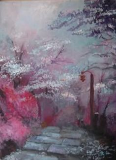 painting japanese garden cherry blossoms trees japan path stone cobblestone pink flowers lamp lantern gwen robinson