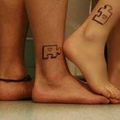 Small Puzzle Pieces Couples Tattoo