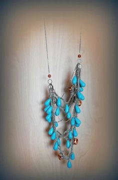 Crochet turquoise,linen and chain necklace