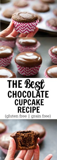 This is the only chocolate cupcake recipe you will ever need. It's the perfect combination of moist, cakey, chocolate goodness. Gluten free.  Grain free.  Paleo.  Dairy free option.