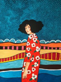 Painting Inspiration, Art Inspo, Illustrations, Illustration Art, Flamingo Art, Portrait Art, Woman Portrait, Portraits, American Art