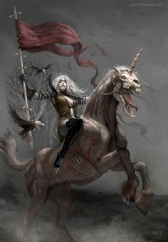 Suddenly, I'm terrified of unicorns. http://karichristensen.deviantart.com/art/Fifth-Horsewoman-of-the-Zombie-Apocalypse-318366420