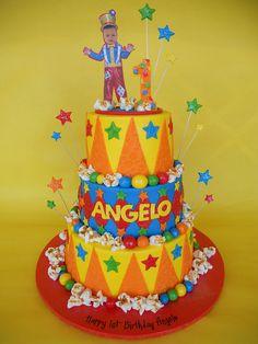 Carnival Clown 1st Birthday Cake by CakesUniqueByAmy.com, via Flickr