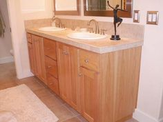 Double Oak Bathroom Cabinets Ideas with Top Granite Mosaic