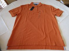 Men's Tommy Hilfiger Polo shirt NWT L solid NEW 7839955 Fall Orange Heather 885