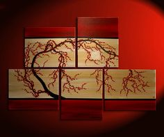 "$335 This Painting is Titled ""Fall Leaves 2"". This large zen painting makes the perfect wall art for your home or office! This elegant asian inspired painting is painted in warm neutral golds, browns, and reds. A gnarly plum blossom tree is the elegant subject of this original artwork.    56"" by 40"" over five 16x20 canvases."