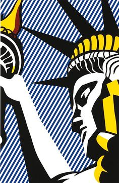 Liberty by Roy Lichtenstein. Artist Roy Fox Lichtenstein was an American pop artist. During the along with Andy Warhol, Jasper Johns, and James Rosenquist among others, he became a leading figure in the new art movement. Roy Lichtenstein Pop Art, Jasper Johns, Robert Rauschenberg, Arte Popular, Cultura Pop, Art Design, Art Plastique, Oeuvre D'art, Abstract Expressionism