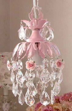 pink with roses chandelier