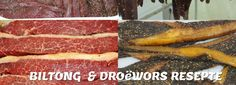 BILTONG & DROëWORS Biltong, Food Art, Om, Recipies, Cooking Recipes, Beef, Traditional, Dishes, Projects