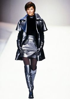 Dedicated to supermodel Helena Christensen. 90s Fashion, High Fashion, Claude Montana, Original Supermodels, Leder Outfits, Thigh High Boots Heels, Knee Boots, French Fashion Designers, Couture Collection