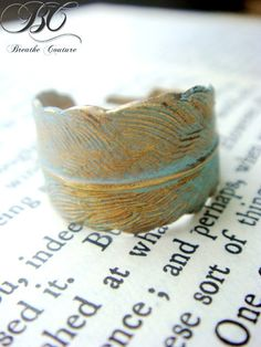 Verdigris Patina Gold Feather Ring $18.00 #ring #accessories #jewelry