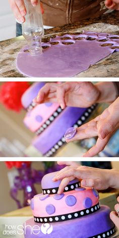 Easy fondant tutorial. This fondant is made with marshmallows and powdered sugar, so it's definitely edible and possibly very good.  :)