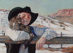 cowboy bill and kitty by Bev Lee Pastel