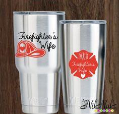 Fire Wife Decal Firefighter Wife Monogram by NikNakDesignsUS Diy Vinyl, Vinyl Crafts, Cricut Vinyl, Vinyl Projects, Vinyl Decals, Monogram Stickers, Monogram Cups, Decals For Yeti Cups, Vinyl Banners