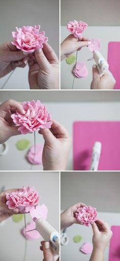 How to make a felt peony flower! #somethingturquoisediy: