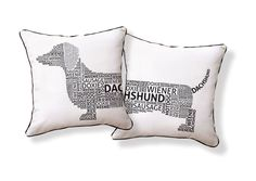 New Pillow from Naked Decor. Great Typography Design. Dachshund. Doxie. Hot Dog. Sausage. Weenie. So adorable.