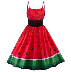 Watermelon Dress, Watermelon Costume, Green Watermelon, Vintage Dresses Online, 1950s Dresses, Dresses Dresses, Floral Dresses, Cheap Dresses, Mode Kpop