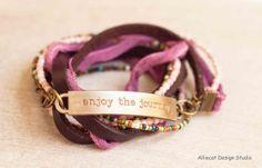 Alliecat Design Studio 3x Bohemian Boho Wrap Bracelet, Pink Enjoy The Journey (6-7 inch) OOAK $55