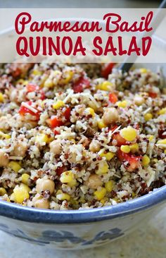 This parmesan basil quinoa salad is the perfect side dish, packed with good for you ingredients and gluten free- bring this basil quinoa salad to the BBQ!