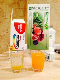 Nutrilite Double X vs Centrum Multivitamin. After 5 mins Double X is completely mixed into the water and Centrum is just sitting at the bottom of the glass. Vitamins For Bones, Vitamins For Kids, Nutrilite Vitamins, Amway Home, Amway Products, Amway Business, Organic Vitamins, Bone And Joint, Plan De Travail
