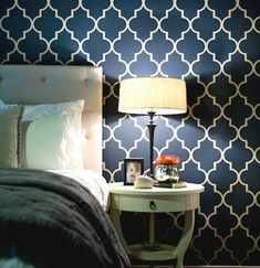 Quatrefoil Stencil   Navy Yellow Color   Bedroom Paint Ideas   Trellis Wallpaper   Geometric Pattern   Home Design   Interior Design
