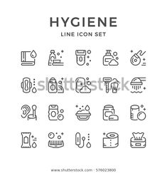 Set Line Icons Hygiene Stock Vector (Royalty Free) 576023800 Skins Quotes, Organized Mom, Drawing Practice, Iconic Women, Line Icon, Easy Drawings, Icon Set, Icon Design, Line Art