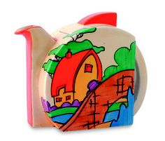 Clarice Cliff art deco-inspired Stamford shape teapot in ????? pattern, w/ later teardrop spout, c. 1930-1936, handpainted enamel on glaze, ceramic, UK