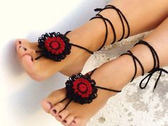 Valentines day gift, Barefoot sandals burgundy, black flower, nude shoes, foot jewelry, victorian, lace, gypsy.