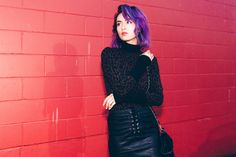 wolford bodysuit, purple hair, vancouver, streetstyle, leather skirt, zara, lace up