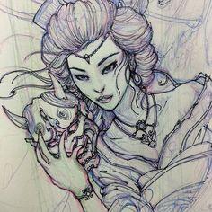 Geisha sketch. #chronicink #asiantattoo #asianink #irezumi #tattoo #sketch #illustration #drawing #geisha #hannya