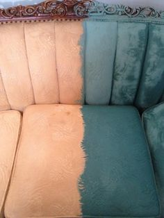 How to paint upholstery using chalk+clay paint.