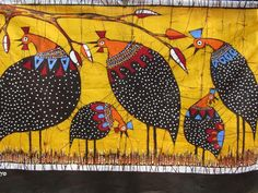 kimberly kelly on Etsy African Paintings, African Art, Wild Chicken, Chicken Painting, Batik Art, Black And White Illustration, Outsider Art, Bird Design, Painting Patterns