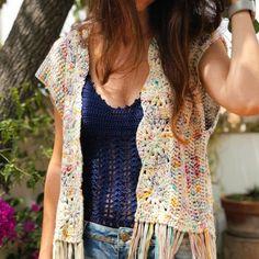 Crochet Blouse, Crochet Top, Crochet Crafts, Crochet Projects, Cool Sweaters, Vintage Crochet, Crochet Clothes, Knitting, Women