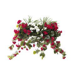 Balconnière Géranium Rouge & Blanc avec verdure 28