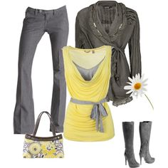 Yellow and gray by stefani-nelson on Polyvore