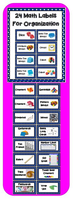 24 labels to help your organize your math manipulatives.