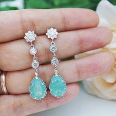 Sea Foam Mint Pacific Opal Swarovski Crystal and CZ connectors dangle Bridal Earrings - Earrings Nation