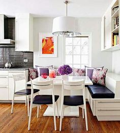 Bench is the kitchen (I have always loved this idea).  banquette.  kitchen.  dining room.  home decor and interior decorating ideas.