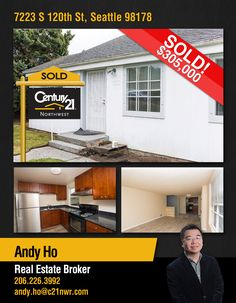 NOW #SOLD  Cheers to Andy Ho & to the new owners of Perfect starter home located in #Seattle.  MLS # 1126132