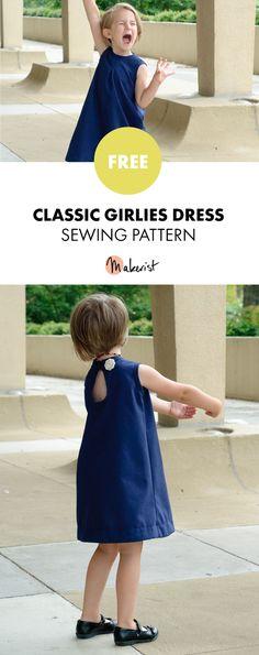 Classic All-Season Girls Dress - Free Sewing Patterns via Makerist.com