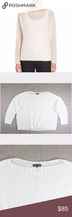 """New EILEEN FISHER Mohair Boxy Boatneck Sweater Size - XL  NWOT. This new eggshell ivory Airy Mohair-Blend Boxy Boatneck Sweater from EILEEN FISHER is in absolutely excellent condition. Made of a mohair blend. It features:   An open-knit mohair blend lends a light and airy touch to this relaxed, boxy sweater for effortless style. Ribbed bateau neckline, cuffs and hem Dropped shoulders Long sleeves Pullover style About 21"""" from shoulder to hem Mohair/nylon/wool Dry clean Imported  Measures…"""