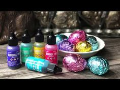 Alcohol Ink Foiled Eggs - YouTube