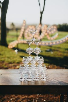 Champagne coupes at Byronviewfarm