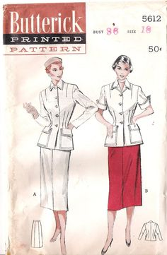 Vintage 1950s Two-Piece Tailored Suit Sewing Pattern, Butterick 5612, Offered on Etsy by GrandmaMadeWithLove, $10.00